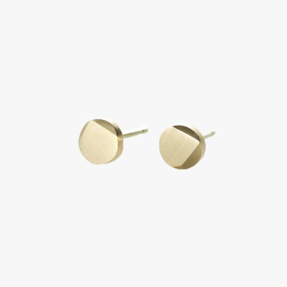 FIONN Large Solid Gold Circle Stud Earrings | The Collaborative Store