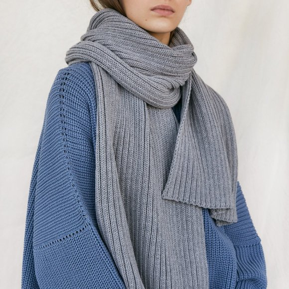 Ribbed Merino Scarf in Grey | The Collaborative Store
