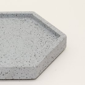 Hexagonal Granite Trinket Tray in Grey | The Collaborative Store