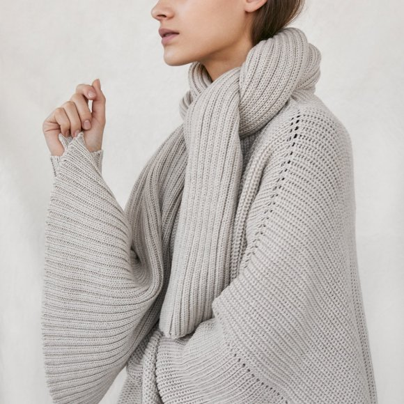 Ribbed Merino Scarf in Pearl | The Collaborative Store