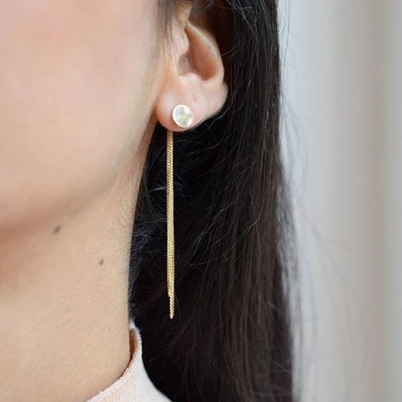 AMA Disc Solid Gold Chain Earrings | The Collaborative Store