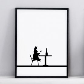 Wine Tasting Rabbit Print | The Collaborative Store