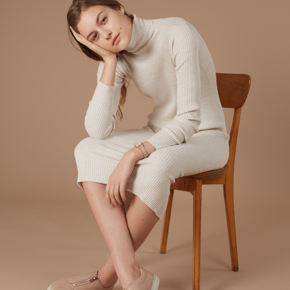 Premium Nude Zip Sneakers | The Collaborative Store