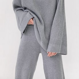 Ribbed Merino Trousers in Grey | The Collaborative Store