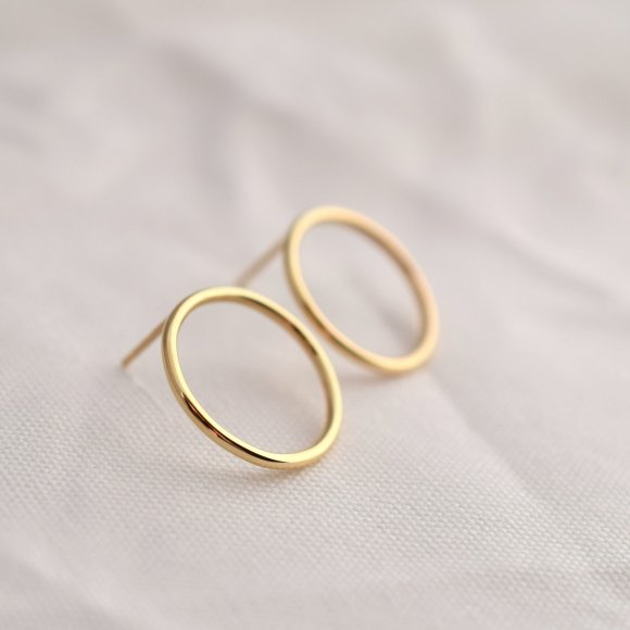 SORA Full Moon Solid Gold Earrings  | The Collaborative Store