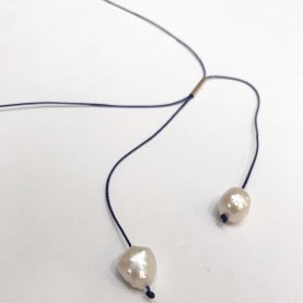 2 Pearl Pull String Necklace | The Collaborative Store