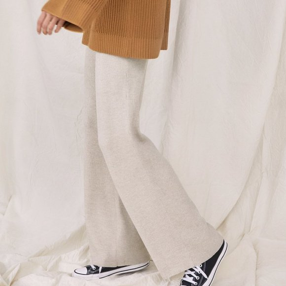 Ribbed Merino Trousers in Pearl | The Collaborative Store