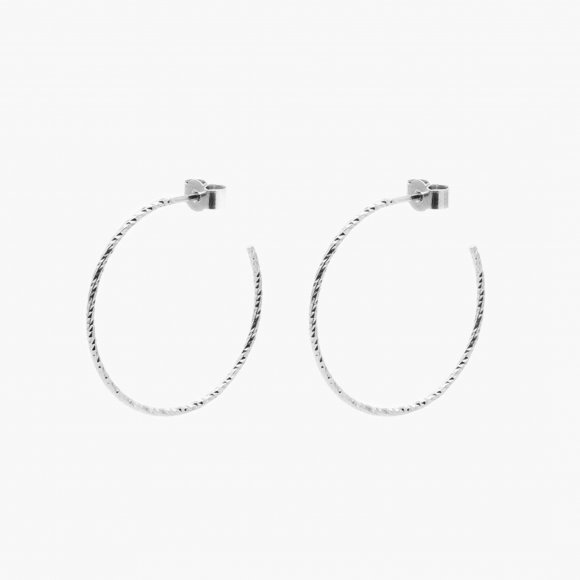 Large Diamond Hoop Earrings - Silver | The Collaborative Store