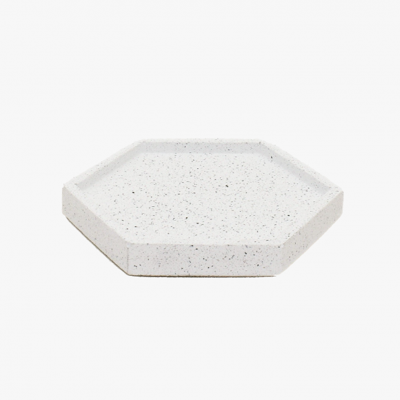 Hexagonal Granite Trinket Tray in White | The Collaborative Store