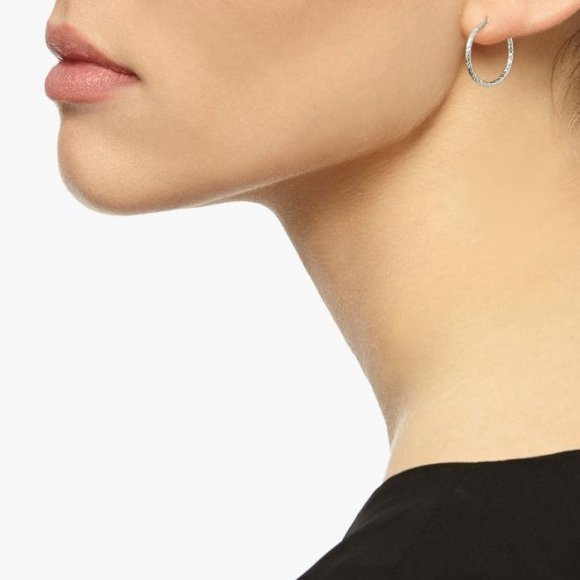 Mini Diamond Hoop Earrings - Silver | The Collaborative Store